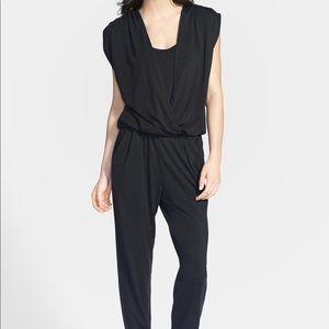 Splendid Jersey Surplice Jumpsuit in Black